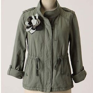 Anthropologie Khaki Military Utility Anorak Jacket